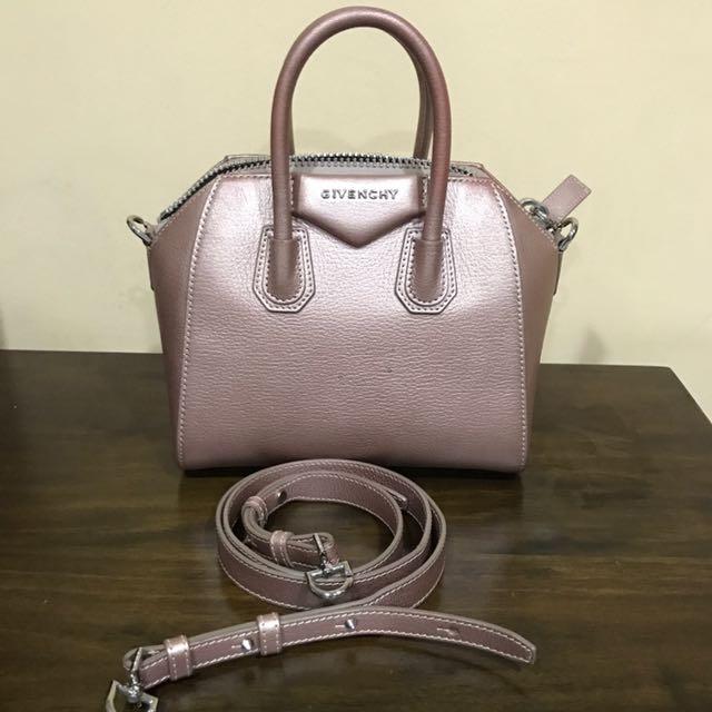 Givenchy Mini Antigona In Metallic Pink