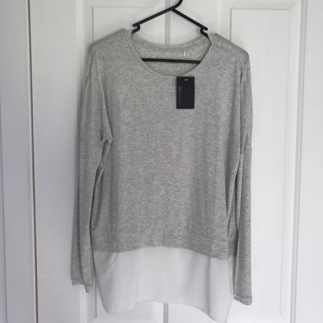Grey Knit With White Blouse