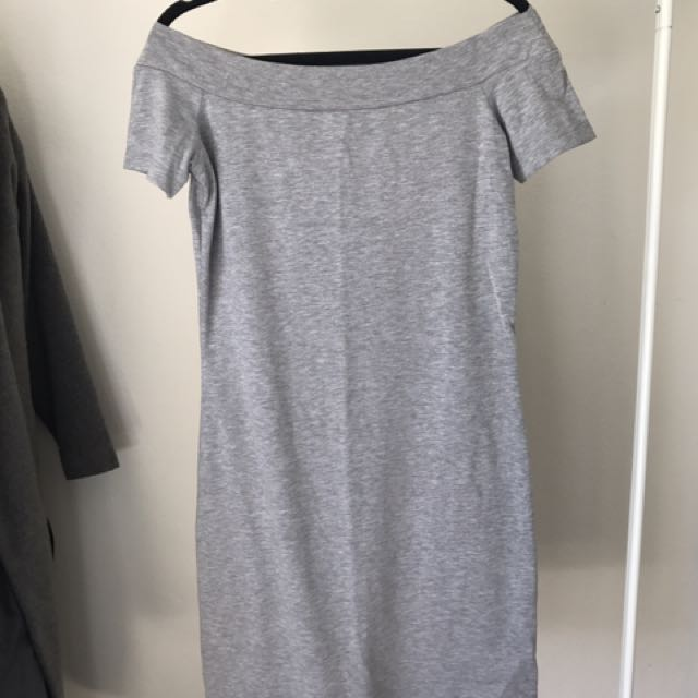 Grey Off The Shoulder Body Con Dress