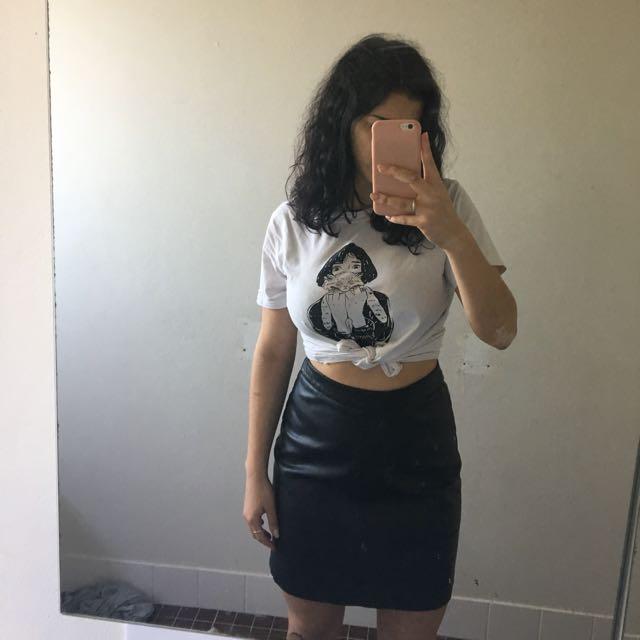 High Waisted Leather Skirt