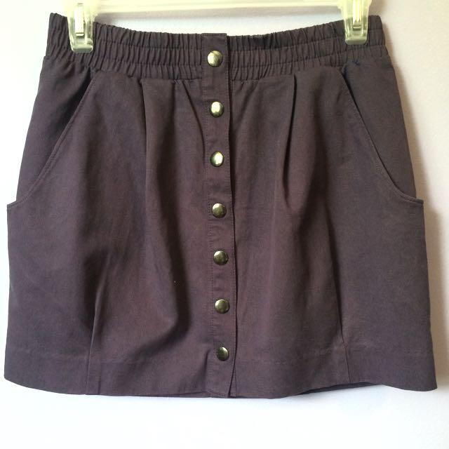 H&M Purple Button Up Skirt
