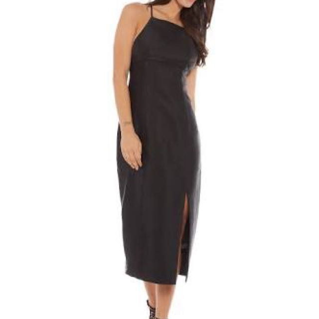 Keepsake The Label Black Satin Midi Dress