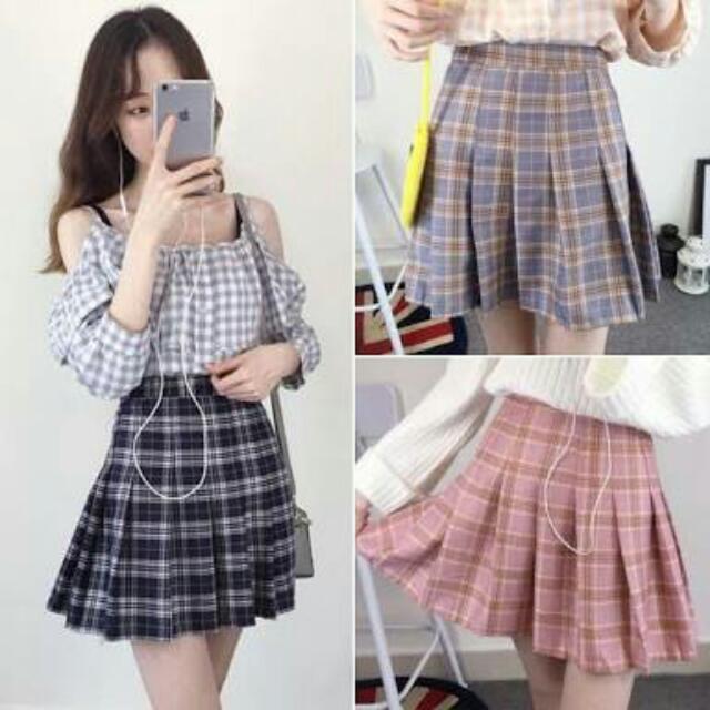 Korean Checkered Skirt