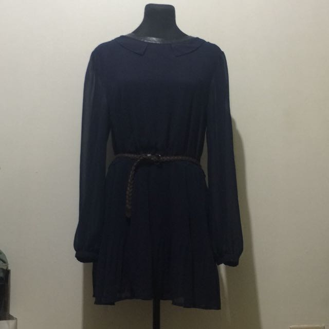 Korean Navy Blue Chiffon Dress With Baby Collars