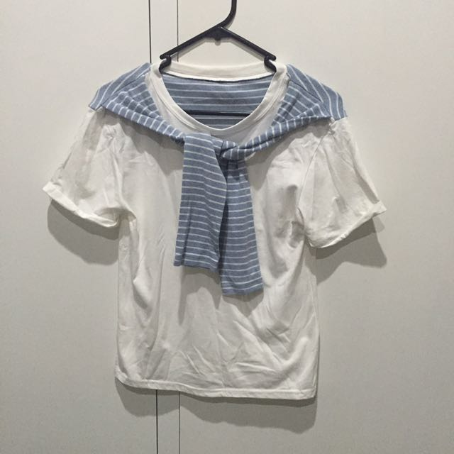 KOREAN STYLE STRIPE WHITE SAILOR T SHIRT SIZE 8