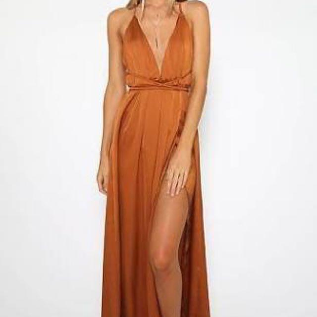 Lancaster Dress In Rust - Peppermayo Size 8
