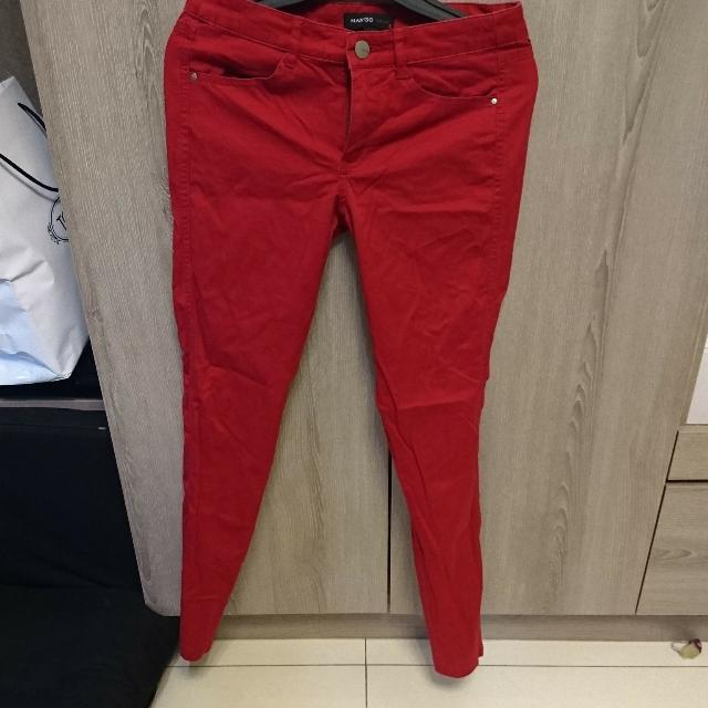 Mango紅色緊身褲