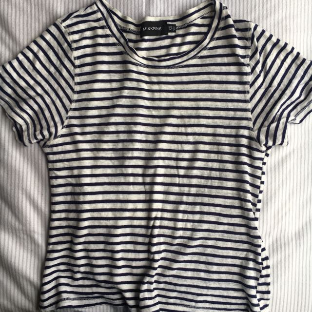 Mini Pink White And Navy Striped Top