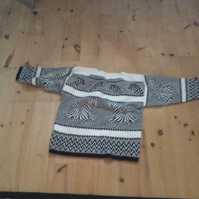 Mix Wooll Animal Print Sewather