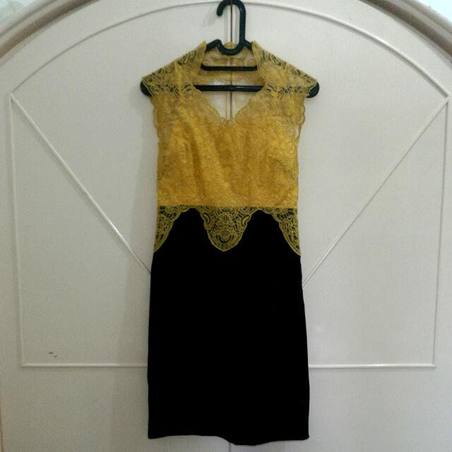 Modern Semi-Kebaya Yellow Party Dress