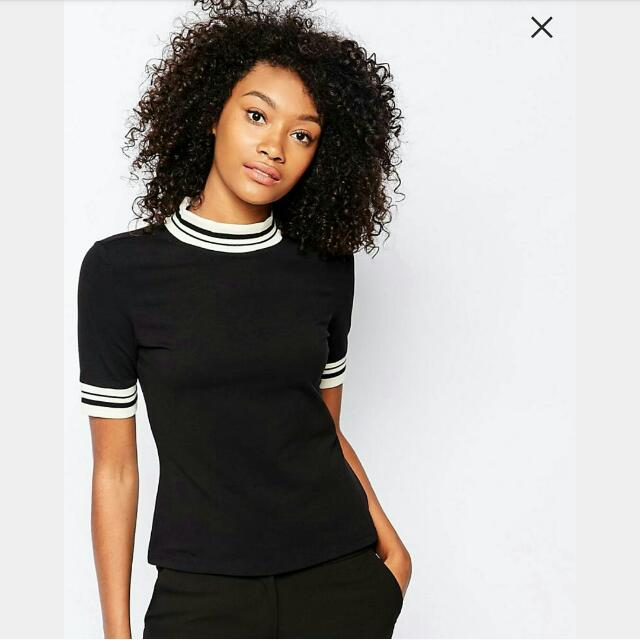 MONKI - Black High Neck T-shirt With Contrast Trim
