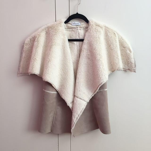 New Faux Fur Suede Beige Vest