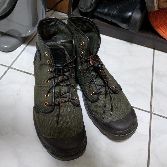 Palladium 軍綠帆布高筒休閒鞋 Timberland可參考