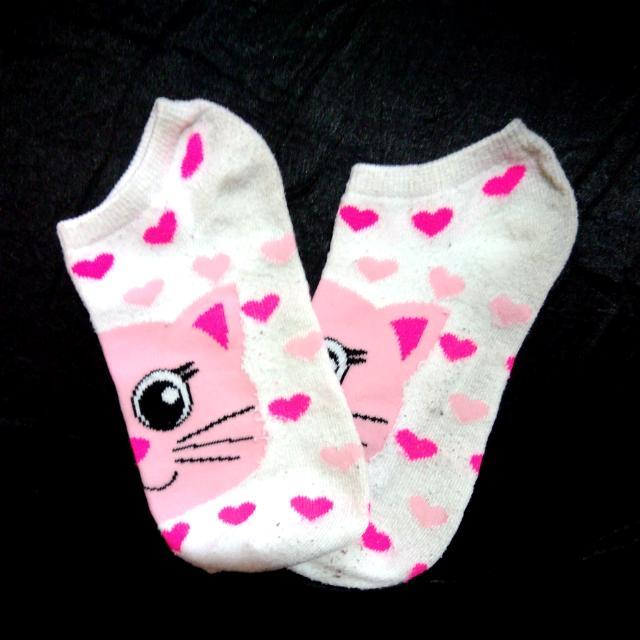 Pink Hearts/Kitten Ankle Socks