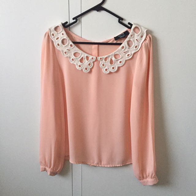 PINK LACE PETER PAN COLLAR BLOUSE SIZE 8