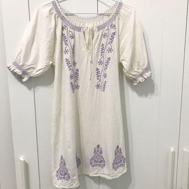 日系Ray Cassin 民俗風刺繡渡假度假白色麻洋裝