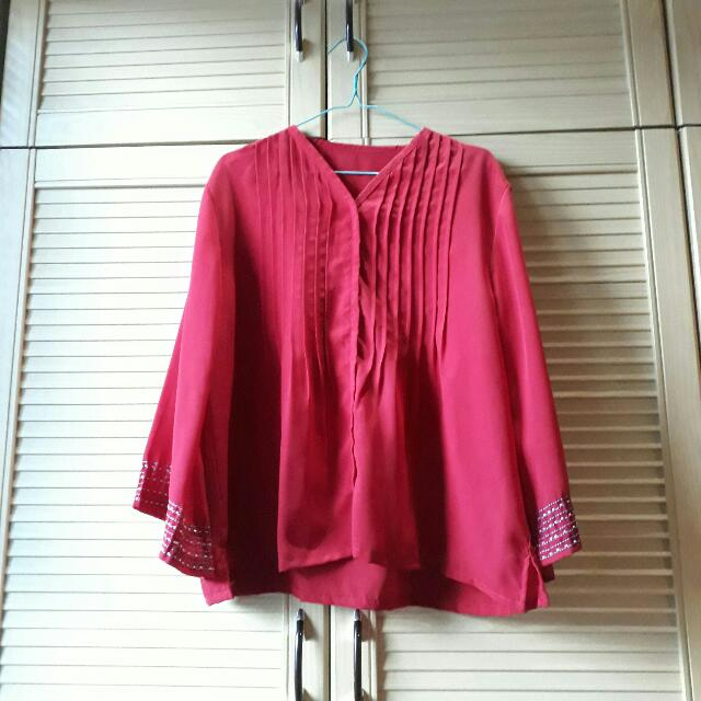 Red Chiffon Blouse (PRELOVED)