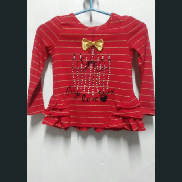 Red Striped Long Sleeves Top