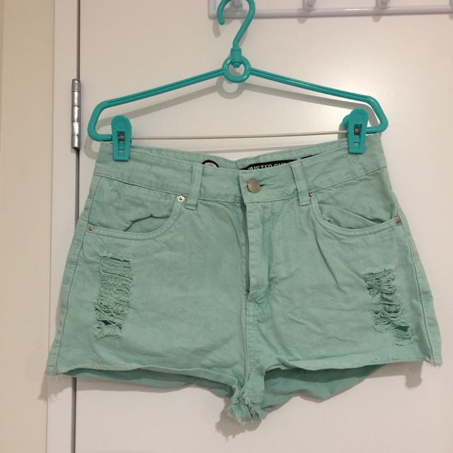 Ripped Mint High Waisted Short