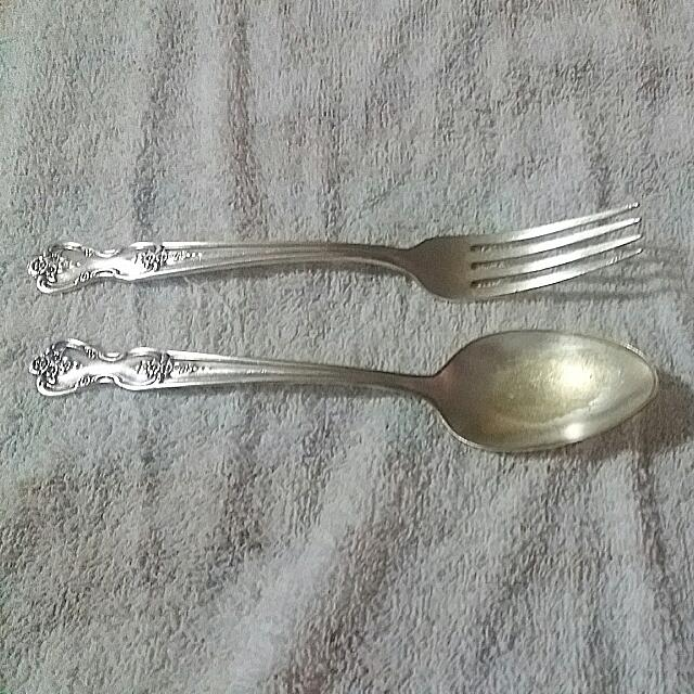 ROGERS ORIGINAL FORK AND SPOON 50 YEARS OLD.