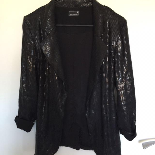 Sequin Blazer - Black