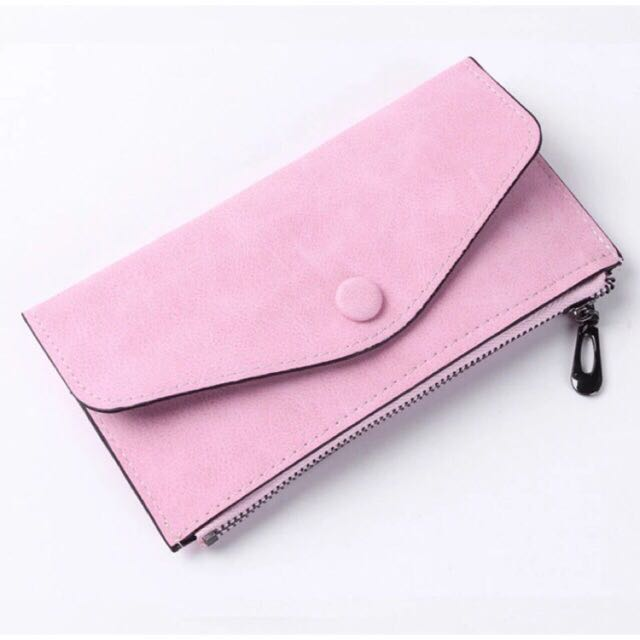 Simple Clutch Long Wallet Scrub Leather with Zipper