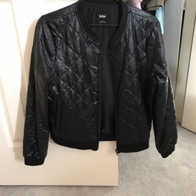 Sportsgirl Black Bomber Jacket Shinny