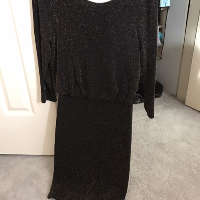 Sportsgirl Dress Black Gold