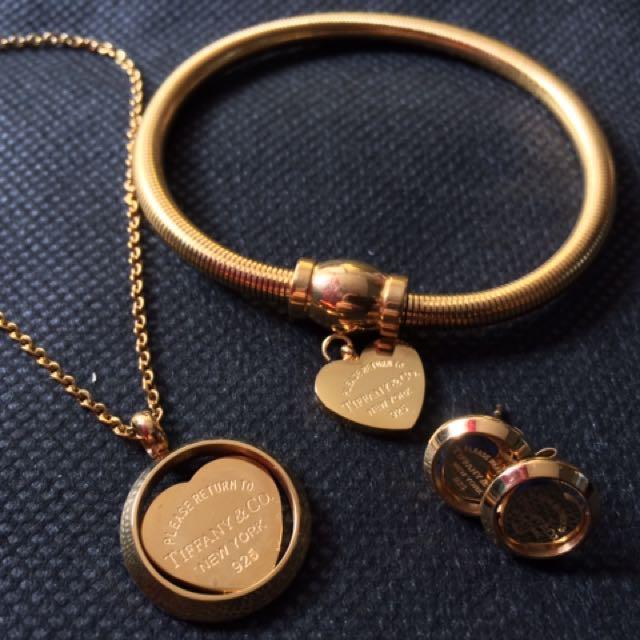 Gold Necklace Bracelet Earrings Set