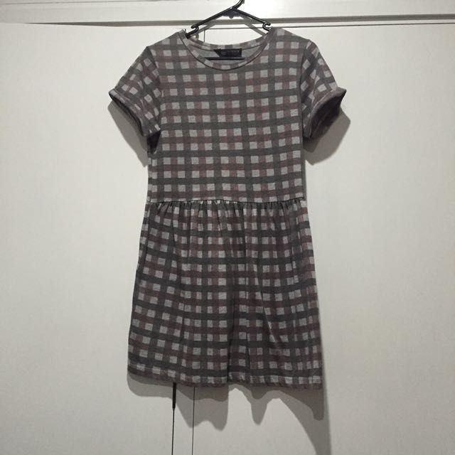 TOPSHOP PETITE CHECK DRESS SIZE 10