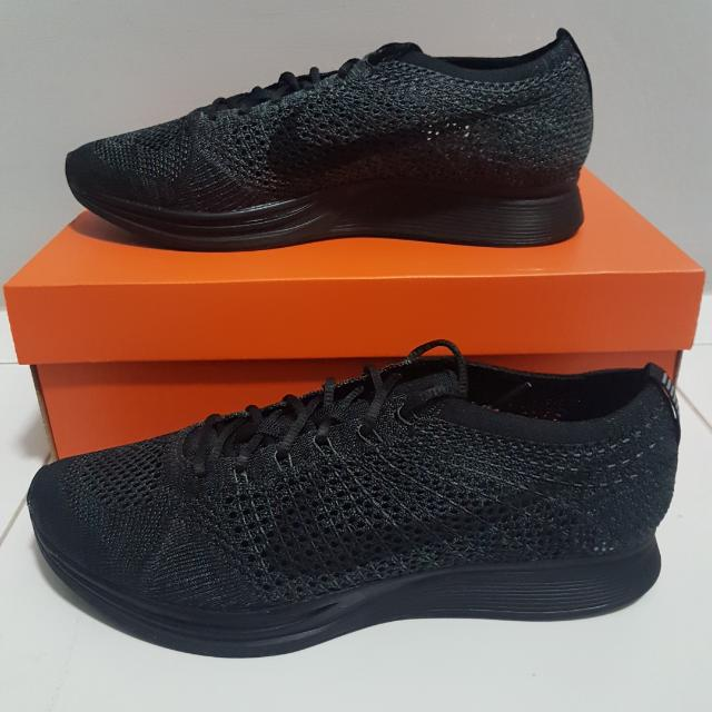 UK10 Nike Flyknit Racer Triple Black