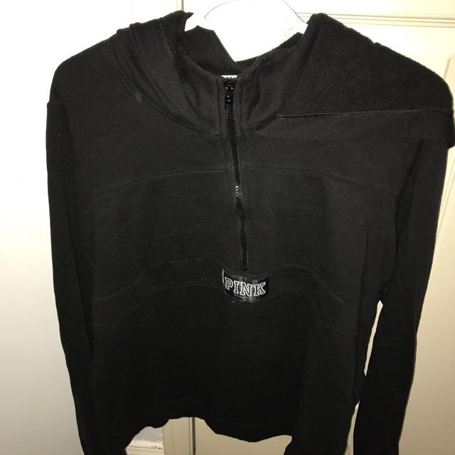 Victoria's Secret PINK black Half Zip Hoodie Size L