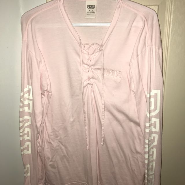 Victoria's Secret PINK Laceup Front Long Sleeve Size Medium