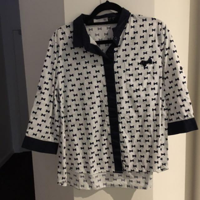 White Navy pattern blouse