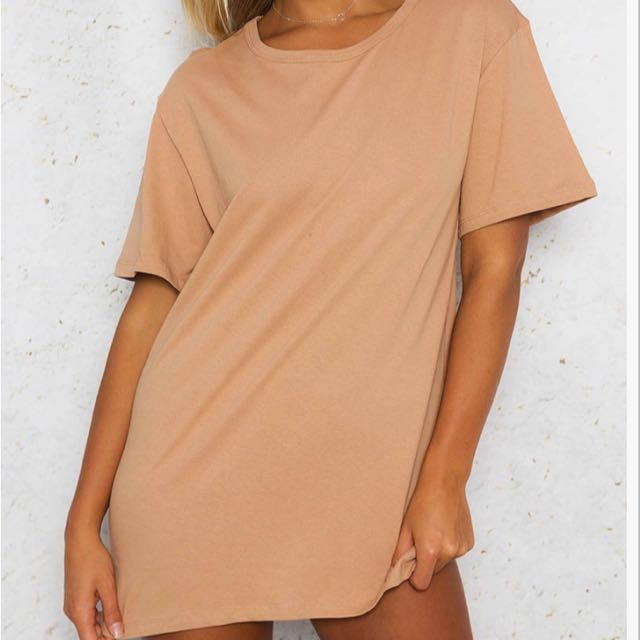 Women's Beige Oversized Tee Shirt Dress