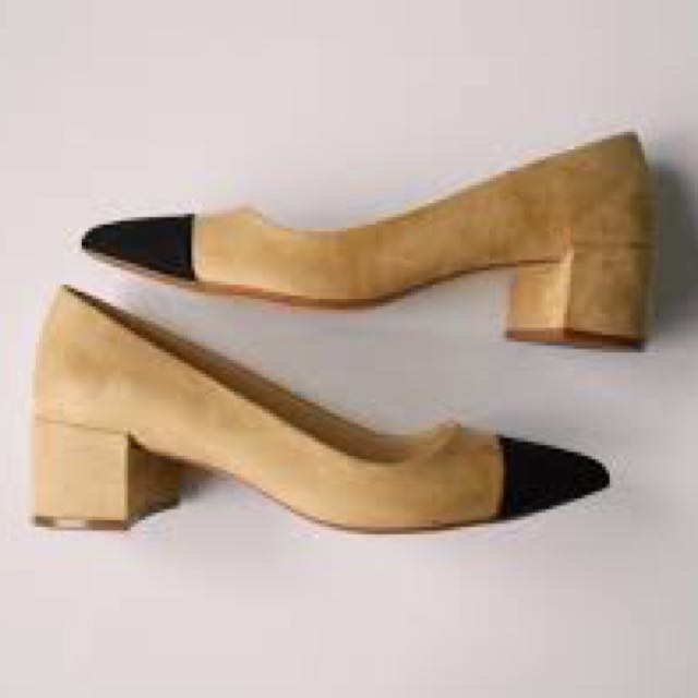 db1c8dab7fb5 Zara MID-HEEL SHOES WITH CONTRASTING TOE CAP Chanel Dupe