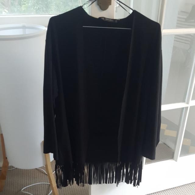 Zara Suedette Boho Black Jacket With Fringing Size Xs