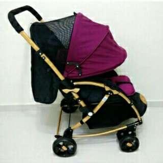 2 Way Facing + 2 In 1 Royal Baby Stroller Rocker (Noble DARK-RED color)
