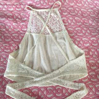 BNWT HOLLISTER WRAP HALTER LACE TIE BACK WHITE CROP TOP TANK