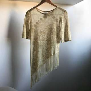 Gold Top Sparkly With Fringe/tassells
