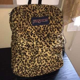 jansport cheetah print fuzzy backpack