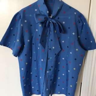 Blue Flower Patterned Shirt