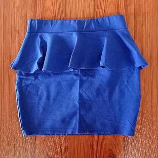 Blue Peplum Skirt