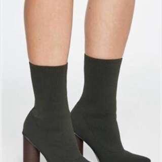 Bardot Knit Ankle Boots Khaki