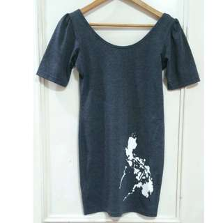 REPRICED Collezione Dark Gray C2 Iconic Philippine Map T-shirt Dress