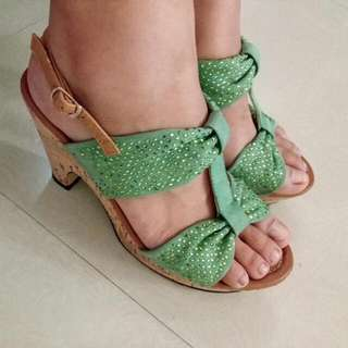 Green Ribbon styled Wedge Sandals