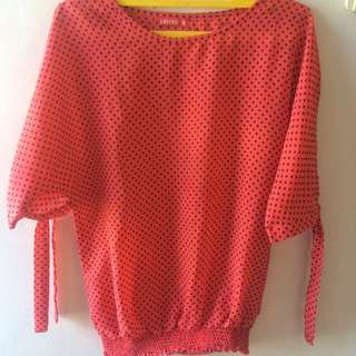 blouse pink polkadot