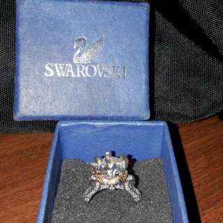Cincin Crown Ring MixGold + Box Swarovski