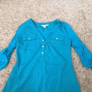 Blue 3/4 Sleeve Dress Shirt