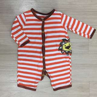 PRELOVED RTBC Baby White & Orange Stripes Onesie